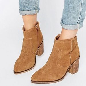 ASOS Shoes - ASOS Tan Brown Leather Western Heeled Ankle Boot 7